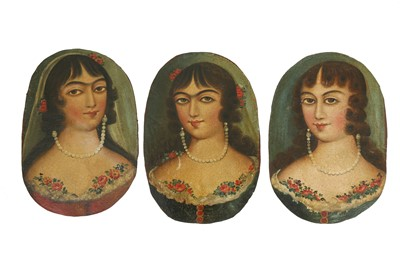 Lot 114 - THREE OVAL PORTRAITS OF QAJAR BEAUTIES