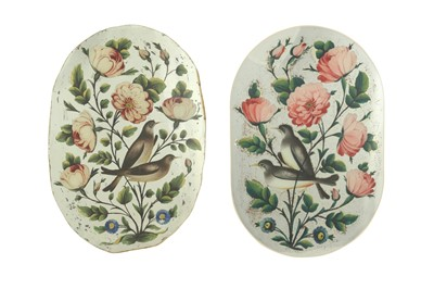 Lot 195 - TWO REVERSE GLASS PAINTINGS WITH A GOL-O-BOLBOL MOTIF