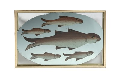 Lot 194 - A REVERSE GLASS PAINTING OF TROUTS