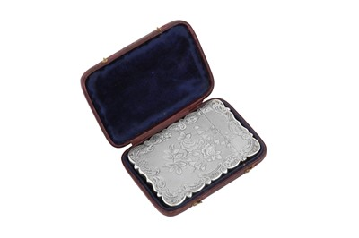 Lot 52 - A cased Victorian sterling silver card case, Birmingham 1851 by Thomas Dones