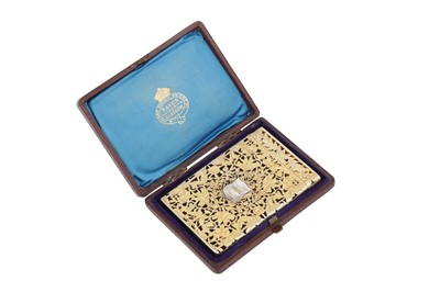 Lot 50 - A cased early Victorian sterling silver gilt card case, Birmingham 1838 by Taylor and Perry