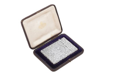 Lot 51 - A cased Victorian sterling silver 'castle top' card case, Birmingham 1842 by Joseph Willmore