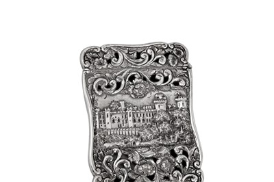 Lot 48 - A William IV sterling silver 'castle top' card case, Birmingham 1844 by Nathaniel Mills