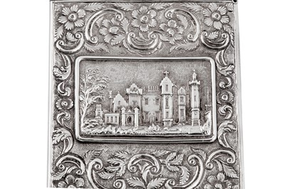 Lot 47 - A William IV sterling silver 'castle top' card case, Birmingham 1835 by Taylor and Perry