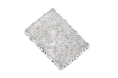 Lot 46 - A Victorian sterling silver card case, Birmingham 1848 by Yapp and Woodward