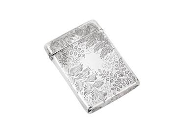 Lot 39 - A Victorian sterling silver card case, London 1894 by Matthew John Jessop