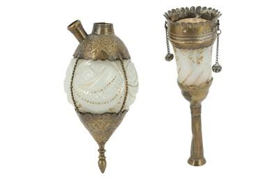 Lot 125 - A GILT DIAMOND-CUT OPALINE GLASS QALYAN BOTTLE AND CUP
