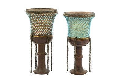 Lot 148 - TWO TURQUOISE-INSET GILT COPPER QALYAN CUPS WITH WOODEN STEMS