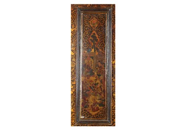 Lot 100 - A SET OF SAFAVID-REVIVAL LACQUERED, GILT AND POLYCHROME-PAINTED WOODEN DOORS