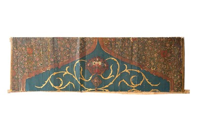 Lot 101 - THREE LARGE QAJAR LACQUERED AND POLYCHROME-PAINTED WOODEN ARCHITECTURAL PANELS