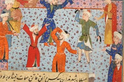 Lot 329 - AN ILLUSTRATED MANUSCRIPT FOLIO: A SCENE OF SAMA' (SUFIC RAPTUROUS MEDITATIVE DANCE)