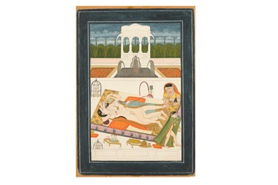 Lot 385 - AN EROTIC SCENE: TWO LOVERS RESTING AND ADMIRING THE STARRY SKY