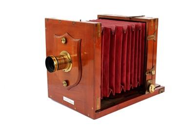 Lot 31 - A Lancaster Special Patent Half Plate Tailboard Mahogany & Brass Camera