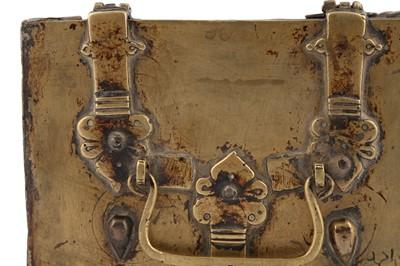 Lot 302 - AN ENGRAVED BRASS CASKET