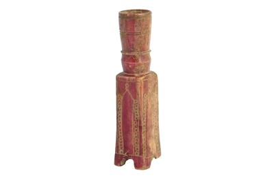 Lot 303 - A CARVED BONE NASRID ROOK CHESS PIECE