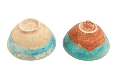 Lot 309 - TWO MONOCHROME TURQUOISE-GLAZED BAMIYAN POTTERY BOWLS