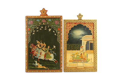 Lot 380 - TWO INDIAN POLYCHROME-PAINTED LACQUERED PANELS
