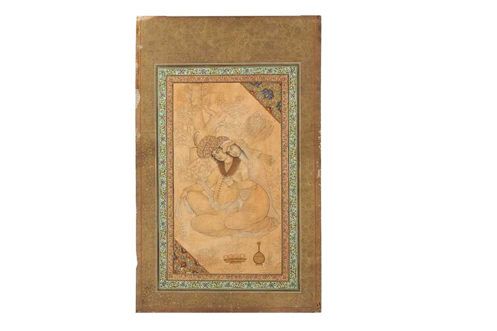 Lot 343 - AN ARCHAISTIC SAFAVID-REVIVAL TINTED DRAWING OF TWO LOVERS