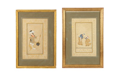 Lot 345 - TWO ARCHAISTIC SAFAVID-REVIVAL TINTED DRAWINGS