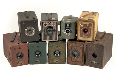 Lot 10 - Group of Box Cameras, inc Uncommon Coloured Models.