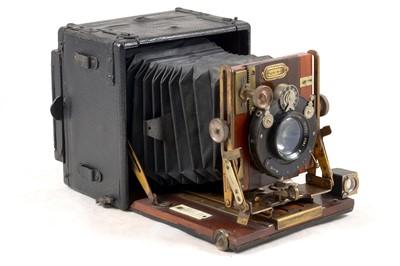 Lot 4 - Sanderson 'Regular' Quarter Plate Wood & Brass Camera.
