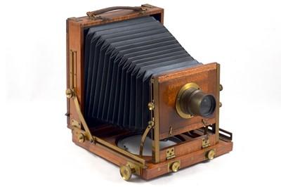 Lot 2 - Unnamed Wood & Brass Half Plate Field Camera.