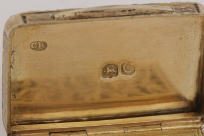 Lot 18 - A George III sterling silver gilt vinaigrette, London 1818 by Charles Rawlings (this mark. 28th Oct 1819)