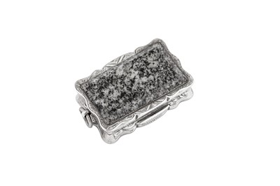 Lot 16 - A Victorian sterling silver and granite vinaigrette, Birmingham 1875 by Hilliard and Thompson