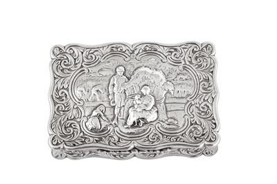 Lot 7 - A Victorian sterling silver snuff box, Birmingham 1854 by Edward Smith