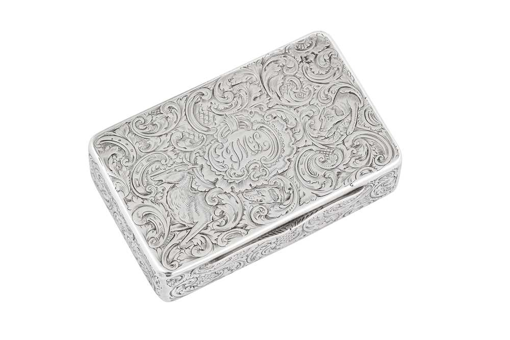 Lot 5 - An early Victorian sterling silver snuff box, London 1837 by Charles Rawlings and William Summers