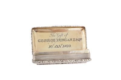 Lot 11 - A William IV sterling silver snuff box, Birmingham 1836 Edward Smith