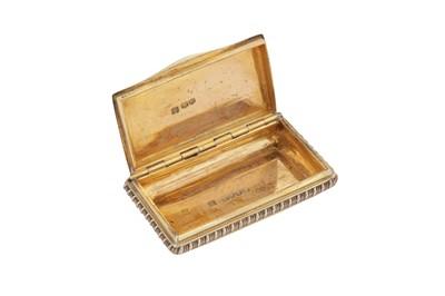 Lot 3 - A George III sterling silver gilt snuff box, London 1815 by Daniel Hockley and Thomas Bosworth (reg. April 1814)