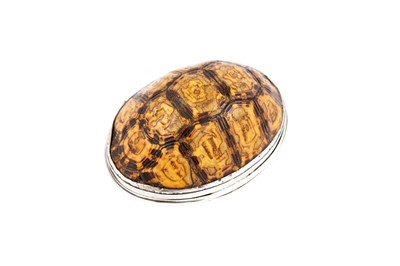 Lot 68 - A late 18th / early 19th century unmarked silver mounted terrapin snuff box, possibly Scottish circa 1800