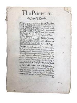 Lot 541 - Hasset (Blener Hasset):The Second part of the Mirrour for Magistrates