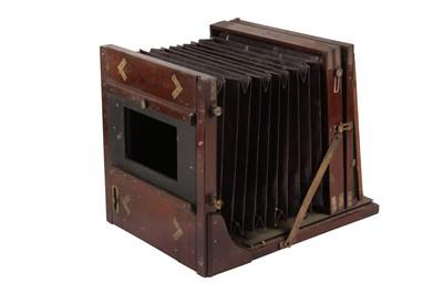 Lot 38 - A Whole Plate Mahogany & Brass Tailboard Camera