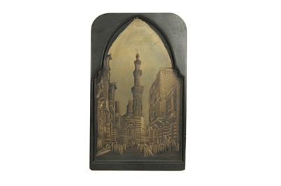 Lot 606 - AN ETCHED METAL LITHOGRAPH PLATE FEATURING THE QALAWUN COMPLEX IN CAIRO