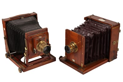 Lot 40 - A Pair of Half Plate Mahogany Field Cameras