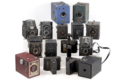 Lot 20 - Group of Vintage Box & Other Cameras, Inc Ensign Cupids.