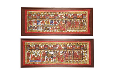 Lot 382 - TWO MONUMENTAL STORY-TELLING CEREMONIAL WALL HANGINGS