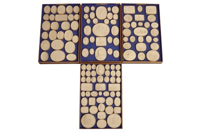 Lot 86 - A COLLECTION OF FOUR TRAYS OF GRAND TOUR PLASTER INTAGLIOS, 19TH CENTURY