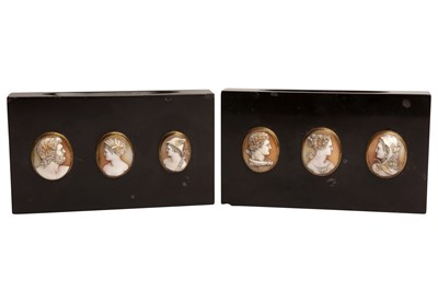 Lot 87 - A PAIR OF ITALIAN BLACK HARDSTONE AND CAMEO MOUNTED PAPER WEIGHTS, 19TH CENTURY