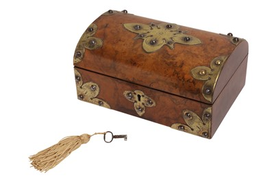 Lot 93 - A VICTORIAN BRASS BOUND AND WALNUT DOMED CASKET, 19TH CENTURY