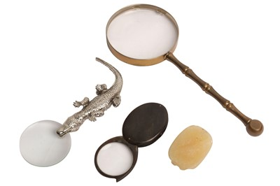 Lot 71 - A BRASS MAGNIFYING GLASS, 20TH CENTURY