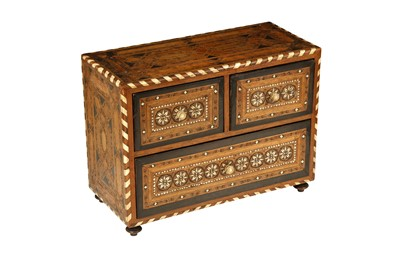 Lot 644 - λ AN IVORY, STAINED WOOD AND BONE-INLAID HARDWOOD CABINET