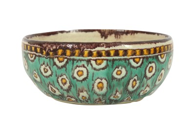Lot 642 - A SMALL POLYCHROME-PAINTED CHEMLA POTTERY BOWL