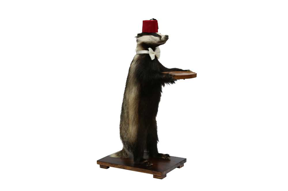 Lot 14 - TAXIDERMY: A BADGER (MELES MELES) WAITER WEARING A FEZ AND A BOW TIE