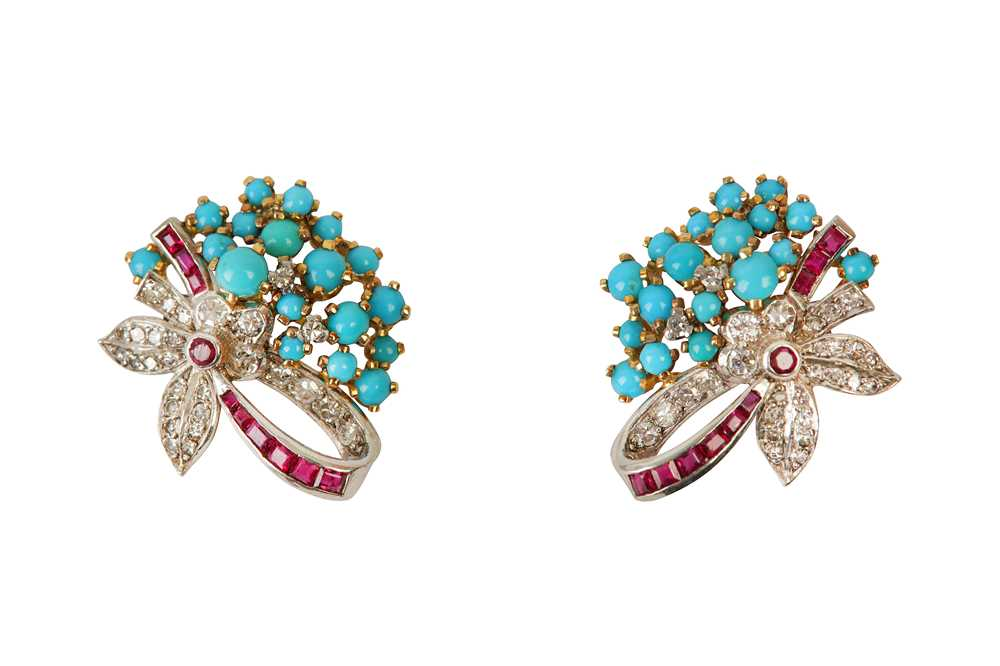 Lot 5 - A PAIR OF TURQUOISE, RUBY AND DIAMOND EARCLIPS