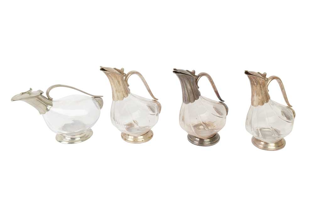 Lot 45 - A SET OF THREE ZWIESEL SILVER PLATED AND GLASS DECANTERS