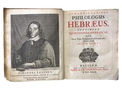 Lot 512 - Leusden: Philogus Hebraeus continens quaetiones hebraicas