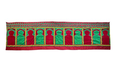 Lot 639 - A LARGE MOROCCAN WALL HANGING WITH ELEVEN MIHRABS (HAITI)